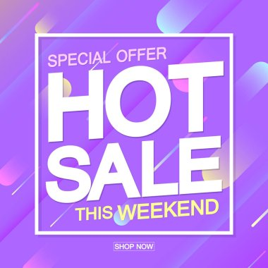 Hot Sale, discount horizontal poster design template, special offer, vector illustration