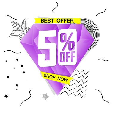 Sale 50% off, best offer, banner design template, discount tag, app icon, vector illustration