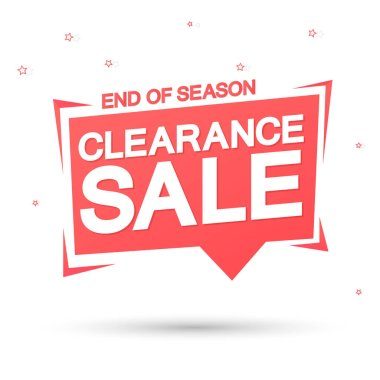Clearance Sale, promotion tag design template, discount speech bubble banner, end of season, app icon, vector illustration