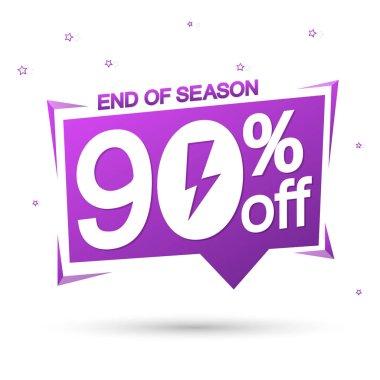 Flash Sale 90% off, speech bubble banner, super offer, mega discount tag design template, app icon, vector illustration