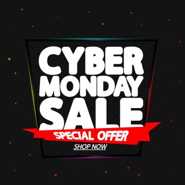 Cyber Monday Sale, poster design template, special offer, red ribbon, vector illustration