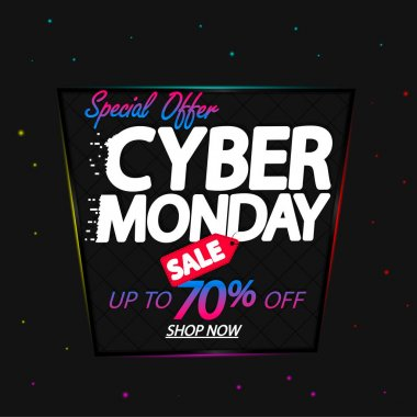 Cyber Monday Sale, poster design template, up to 70% off, special offer, vector illustration