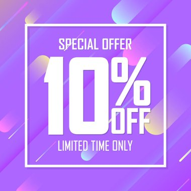 Sale 10% off, poster design template, special offer, vector illustration