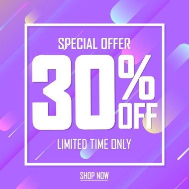 Sale 30% off, poster design template, special offer, vector illustration
