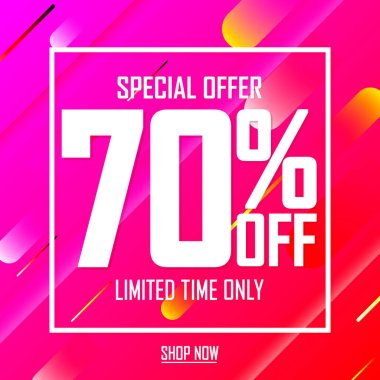 Sale 70% off, poster design template, special offer, vector illustration