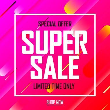 Super Sale, discount poster design template, special offer, vector illustration