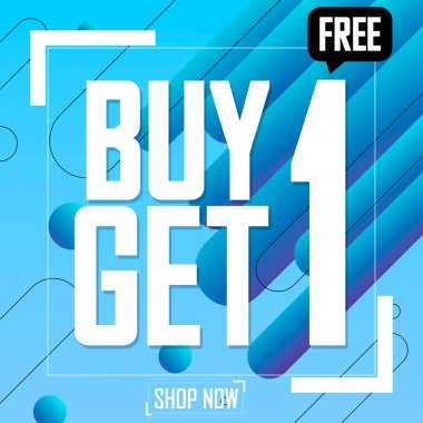 Buy 1 Get 1 Free, Christmas Sale, poster design template, vector illustration