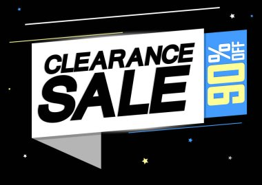 Clearance Sale, 90% off, banner design template, discount tag, app icon, vector illustration