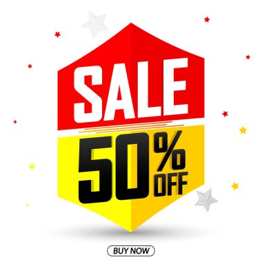 Sale 50% off, discount banner design template, promo tag, vector illustration