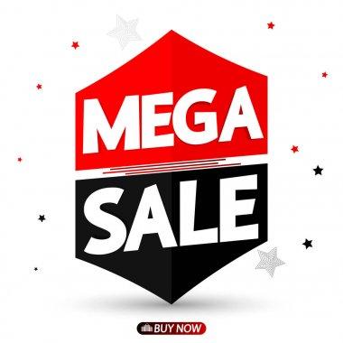 Mega Sale, promotion banner design template, discount tag, vector illustration