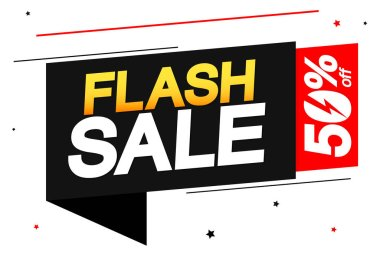 Flash Sale, 50% off, banner design template, discount tag, app icon, vector illustration