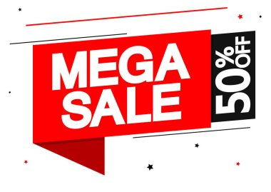 Mega Sale, 50% off, banner design template, discount tag, app icon, vector illustration