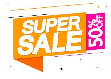 Super Sale, 50% off, banner design template, discount tag, app icon, vector illustration