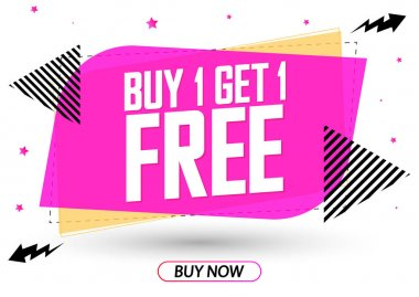 Buy 1 Get 1 Free, Sale banner design template, discount tag, app icon, vector illustration