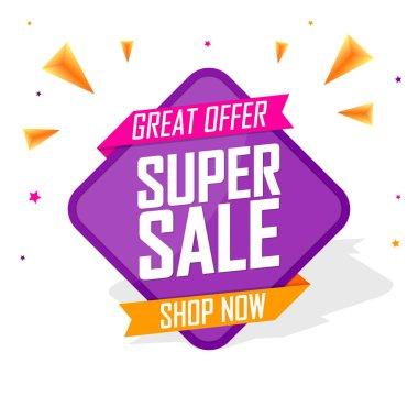 Super Sale, promotion banner design template, great offer, discount tag, vector illustration