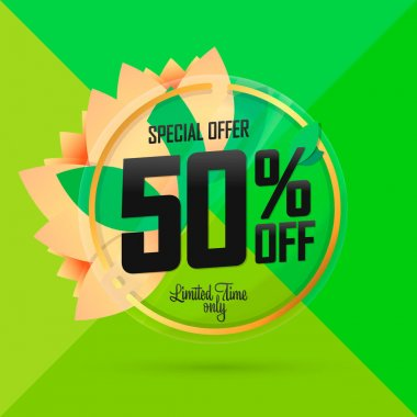 Spring Sale 50% off, banner design template, discount tag, special offer, app icon, vector illustration