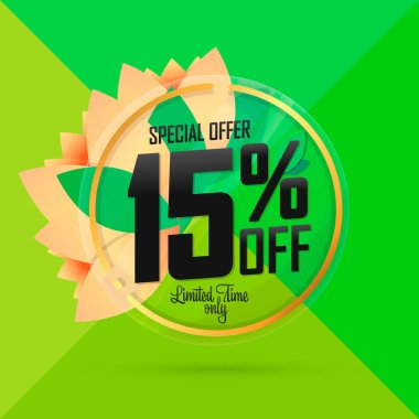 Spring Sale 15% off, banner design template, discount tag, special offer, app icon, vector illustration