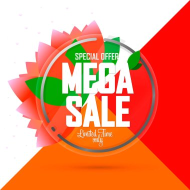 Mega Sale, banner design template, Spring discount tag, special offer, app icon, vector illustration