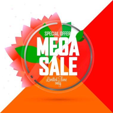 Mega Sale, banner design template, Spring discount tag, special offer, app icon, vector illustration