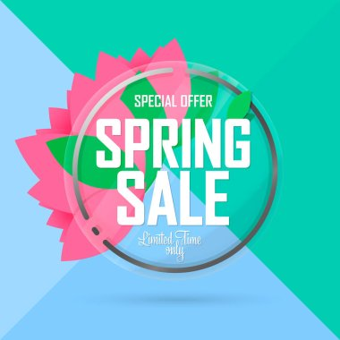 Spring Sale, banner design template, discount tag, special offer, app icon, vector illustration
