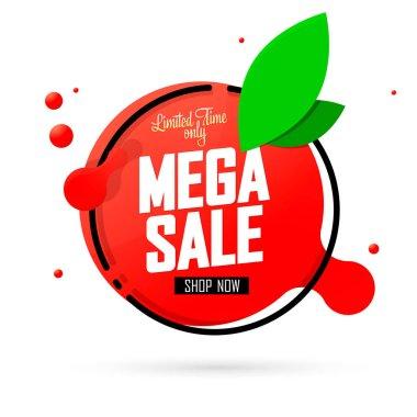 Mega Sale, Summer discount banner design template, promotion tag, vector illustration