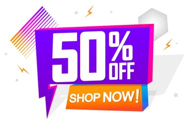 Sale 50% off, speech bubble banner, flash discount tag design template, app icon, vector illustration