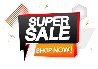 Super Sale, tag design template, flash discount speech bubble banner, app icon, vector illustration