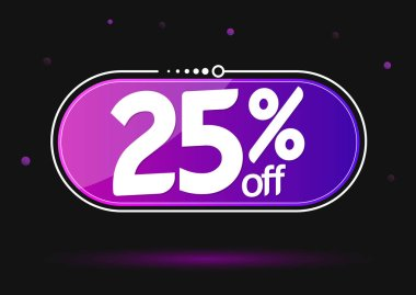 Sale 25% off, discount banner design template, extra promo tag, vector illustration