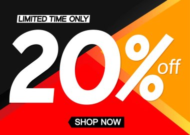 Sale 20% off, poster design template, limited time, vector illustration