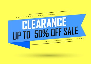 Clearance Sale, banner design template, discount tag, up to 50% off, app icon, vector illustration