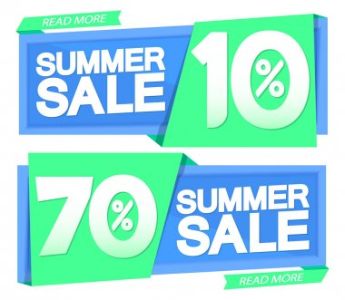 Summer Sale, 10% off and 70% off, banners design template, discount tags, vector illustration