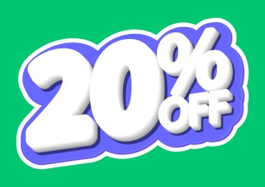 Sale tag, 20% off, isolated sticker, poster design template, discount banner, vector illustration