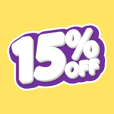 Sale tag, 15% off, isolated sticker, poster design template, discount banner, vector illustration