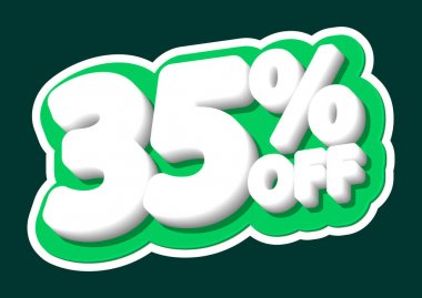 Sale tag, 35% off, isolated sticker, poster design template, discount banner, vector illustration