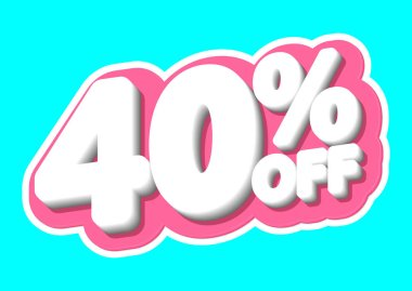 Sale tag, 40% off, isolated sticker, poster design template, discount banner, vector illustration