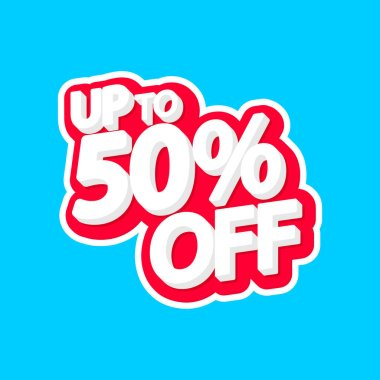 Sale tag, 50% off, isolated sticker, poster design template, discount banner, vector illustration