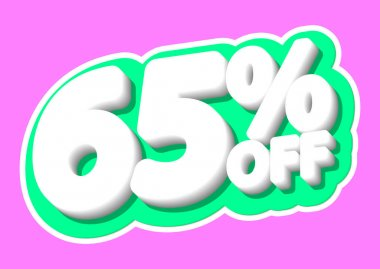 Sale tag, 65% off, isolated sticker, poster design template, discount banner, vector illustration