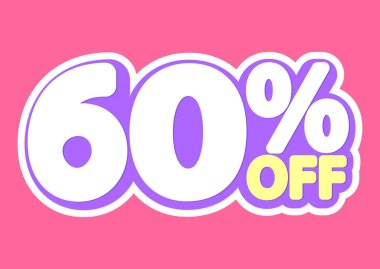 Sale tag, 60% off, isolated sticker, poster design template, discount banner, vector illustration