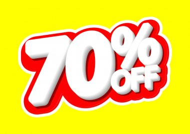 Sale tag, 70% off, isolated sticker, poster design template, discount banner, vector illustration