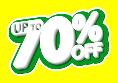 Sale tag, up to 70% off, isolated sticker, poster design template, discount banner, vector illustration