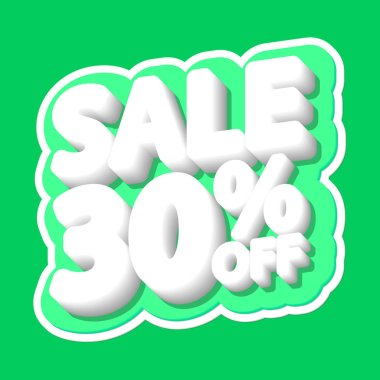 Sale tag, 30% off, isolated sticker, poster design template, discount banner, vector illustration