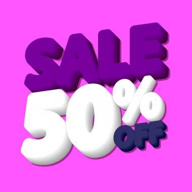Sale 50% off, poster design template, discount banner, vector illustration