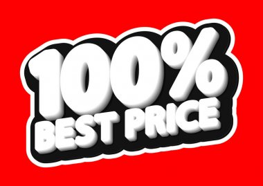 Sale tag, 100% best offer, isolated sticker, poster design template, discount banner, vector illustration