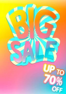 Big Sale 70% off, poster design template, special offer, vector illustration
