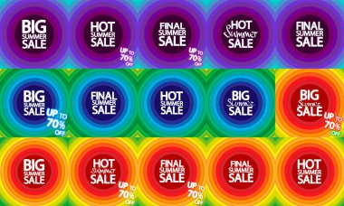 Set Summer Sale  posters design template, up to 70% off, special deal, vector illustration