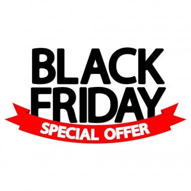 Black Friday Sale, poster design template, special offer, red ribbon, vector illustration