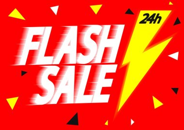 Flash discount poster design template, vector illustration