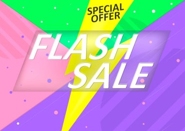 Flash discount poster design template, special offer, vector illustration