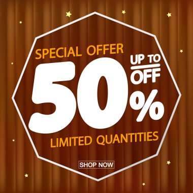 Autumn Sale up to 50% off, poster design template, special offer, vector illustration