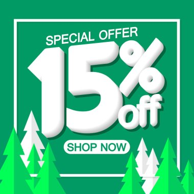 Christmas Sale 15% off, poster design template, special offer, vector illustration